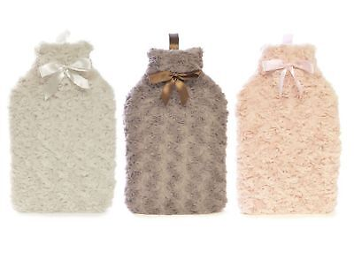 2 Litre Hot Water Rubber Bottle with Removable Curly Soft Plush Cover - Assorted