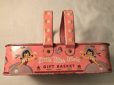 Vintage TIN LITHO Basket Little Miss Pixie Toy USA made