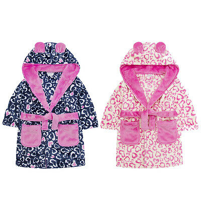 Childrens Heart Print Soft Fleece Hooded Dressing Gown ~ 2-13 Years