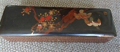 Antique/ Vintage? Lacquered  Wood Chinese/ Japanese? Glove Box 27 x 7cm Birds