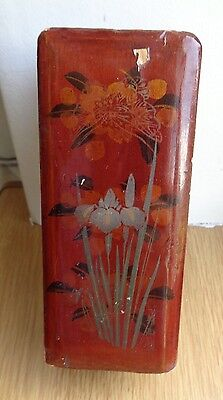 Antique/ Vintage? Lacquered  Wood Chinese/ Japanese? Box 12 x 5 cm