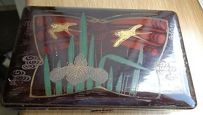 Antique/ Vintage? Lacquered  Wood Chinese/ Japanese? Box 13 x 8 cm Birds