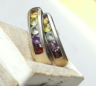 925 Stunning Colorful Earrings with Gem Stones Sterling Silver