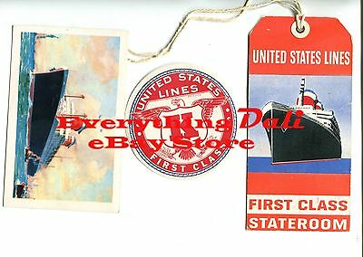 United States Cruise Lines -  S.s. America – 4 Pieces Of 1950'S Ephemera