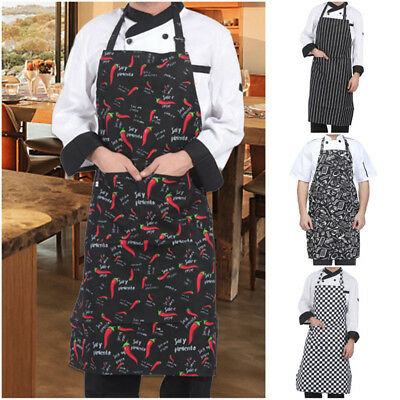 Womens Mens Chef Kitchen Aprons Restaurant Baking Cooking Bib Dress adjustable