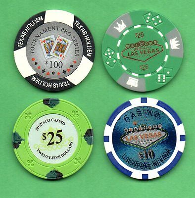 Lot of 4 Poker Chips Texas Holdem, Monaco Casino and Welcome to Las Vegas