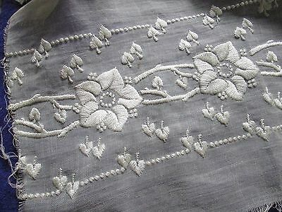 Antique hand embroidered trim flowers on white cotton/nice for dolls/France