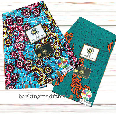 African Ankara Wax 100% Cotton Print Fabric, Quality 6 yards Free UK PP