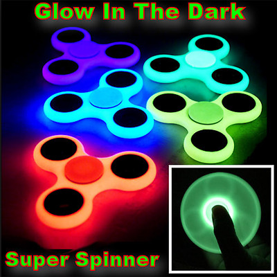 20X Glow in the Dark Hand Spinner Tri Fidget Focus Tool Desk Toy Stocking Stuffe