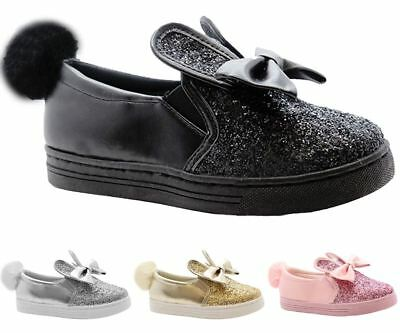 New Kids Girls Sparkle Pom Pom Bunny Rabbit Ears Slip On Bow Shoes Trainers