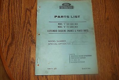 "OLD 1964 FORD MODEL ""E"" and ""D"" ENGINES PARTS LIST"
