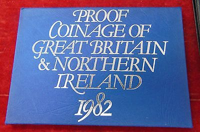 1982 Proof Coinage of Great Britain & Northern Ireland Set no COA Toned 7 Coin