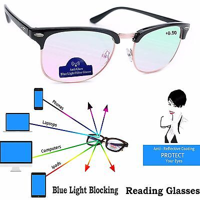 Women Men Reading Glasses Anti Glare +0.5 +1.5 +2.0 Computer Gaming TV