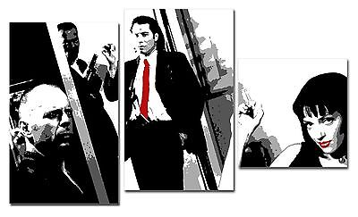 Set 3 quadri Pulp Fiction dipinto a mano su tela arredamento casa stile pop art
