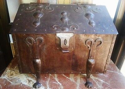 Spaniard Spain Antique Xix C Strongbox Strong Safe Security Box Iron Trunk Chest