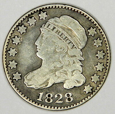 1828 Bust Dime Rare Variety 1 - Large Type - Large Date Curl Base 2 F++ Scarce!