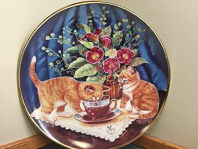 Franklin Mint Kitty Cat Plate - Tea for Two