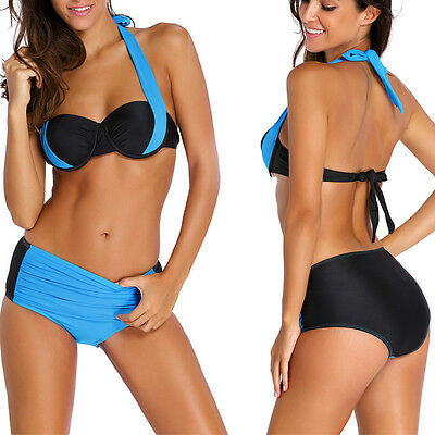 7310ca0404 2pc Light Blue/Black Wired Padded Bra Top High Waist Halter Swimsuit Bikini  S-