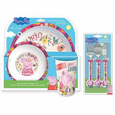 Peppa Pig | Nature | Birds 6pc Tumbler, Bowl, Plate Set & Cutlery | Mealtime