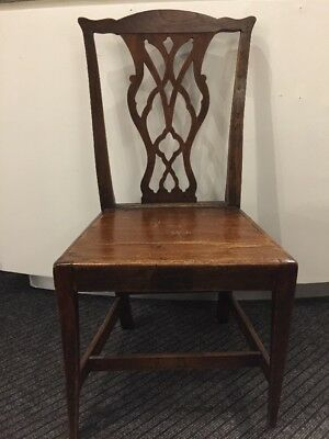 Antique 18th Century Georgian Chippendale Country Single Elm Hall/Dining Chair