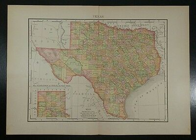 1895~TEXAS~Antique COLOR Map~Rand McNally~11x14~Old Authentic & Original