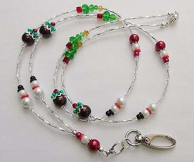 """Beaded """"Christmas Themed"""" Lanyard For ID Badge / Pass,Card Holder Necklace."""