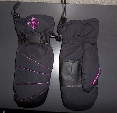 Columbia Athletic Cold Winter Mittens ~ BLACK w/ Pink Logo ~ Youth Size Medium M