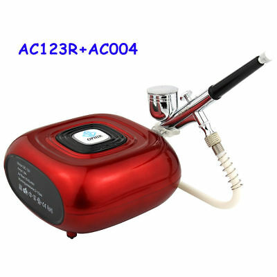 OPHIR Red Mini Air Compressor with Airbrush Kit for Nail Art Makeup Cosmetic