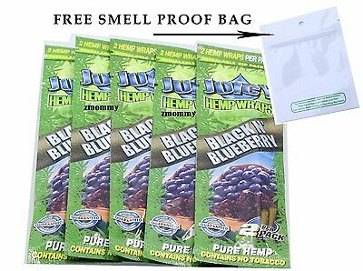 5 Packs JUICY HEMP WRAPS - BLACK AND BLUEBERRY Flavored Cigarette Rolling Papers