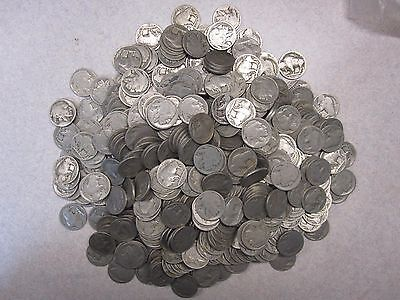 "500 ""No Date"" Circulated Buffalo Nickels, Free Shipping"