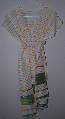 Womens Contemporary Ethiopian Dress Organic Cotton Cap Sleeves NEW Tie S/M gold