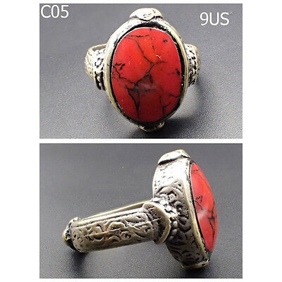 Rare Medieval Red Agate Stone Silver mix Ring Us Size 9 #C05