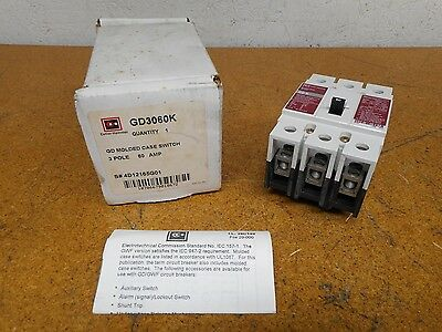 Cutler-Hammer GD3060K GD Molded Case Circuit Breaker 3 Pole 60A New