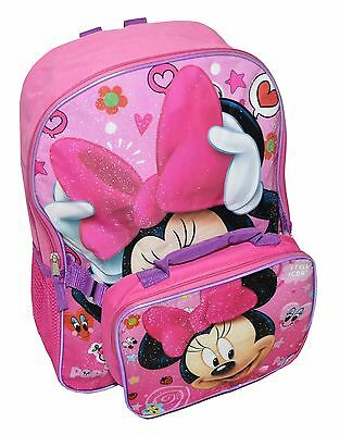 Disney Minnie Mouse Girls Large Backpack With Lunch Bag