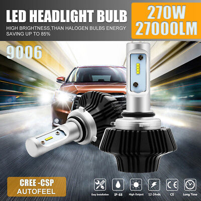 CREE 2X 9006 270W 27000LM LED Headlight Bulbs Kit Low Beam ballast White 6500K