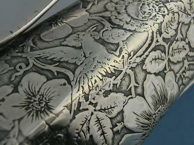 "Silverplate Weidlich Bros 7 7/8"" Vase Tapestry acid etched Aesthetic floral bird"