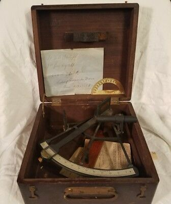 Vintage Maritime WWII Sextant Owned by 534th EBSA Lt Great Piece in Original Box