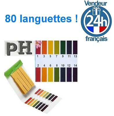 80 Bandes Testeur PH Papier Tester Eau Test piscine calcaire aquarium jardinage