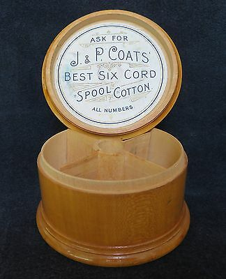 Mauchline Ware J.&P. Coats' Best Six Cord Spool Cotton Wooden Sewing Box &Insert
