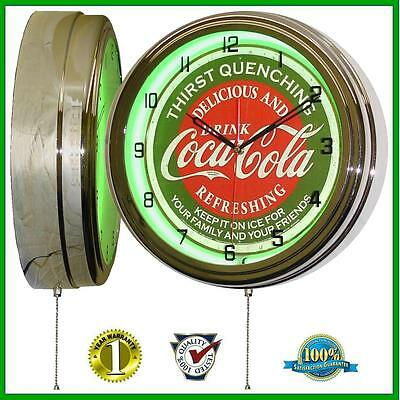 """Coca Cola * Thirst Quenching * Sign 16"""" Neon Lighted Wall Clock Green Chrome"""