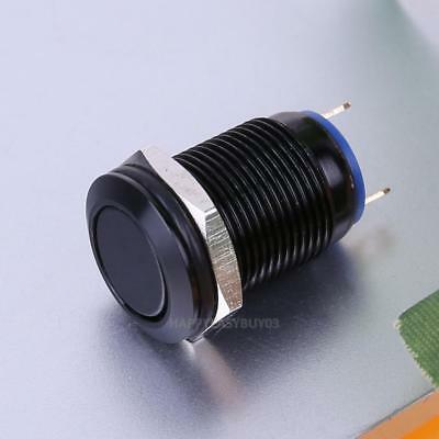 12mm Waterproof Flat Stainless Steel Momentary Power Push Button Switch Black