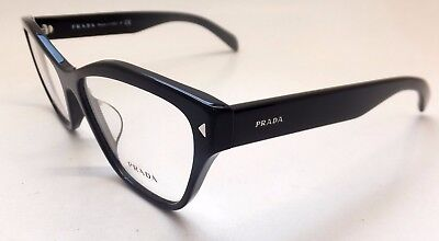 Prada VPR 27S-F 1AB-1O1 Black Silver Cat Eye Woman Eyeglasses Italy BE27/21