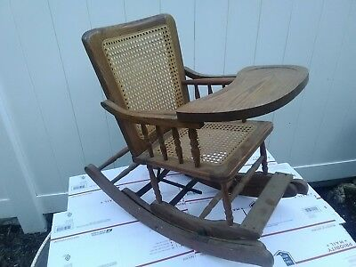 Vintage Infant Convertible Rocking Chair High Chair Victorian Wood Wicker ? Baby