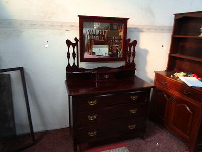 antique 3 drawered dressing table with central mirror