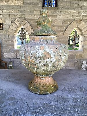 Antique Large Terra Cotta Urn Wax Lined With Lid Stunning Patina