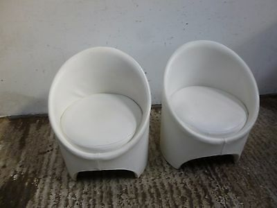 Evans of High Wycombe Limited A pair of 1960's  white leather Gogo Tub Chairs