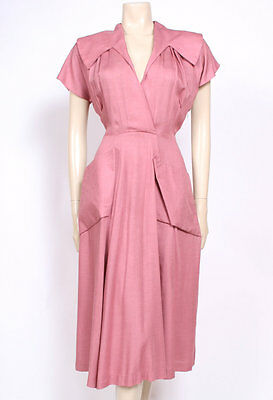 Original Vintage 1940's 40's Pale Pink Pockets Collars Cotton Swing Dress! Uk 10
