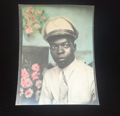 WW2 US Military African American in Uniform ~Rare Colorized Photo