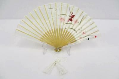 "14"" Kyoto Japanese Holding Fan Sheer White Fabric Hand Painted Flowers In Case"