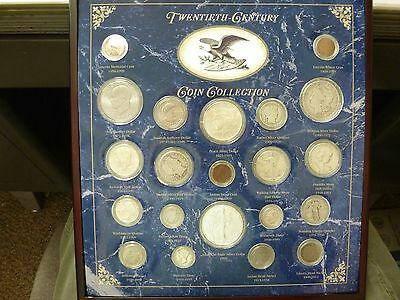 Twentieth Century Coin Collection In Display Case, 21 Coins